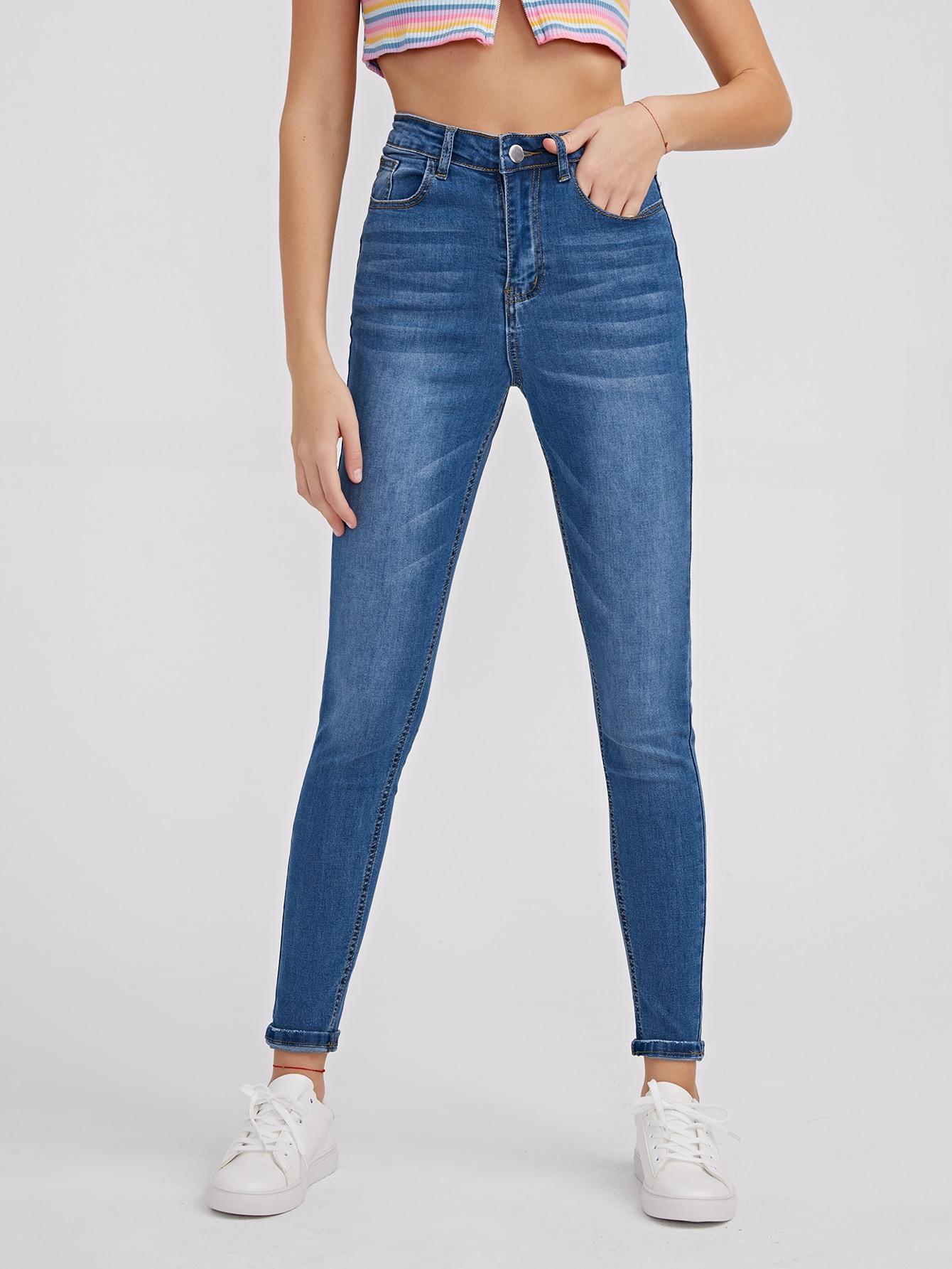 Zipper Fly High Waist Skinny Jeans thumbnail
