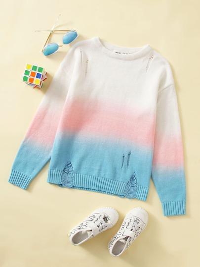 Рваный свитер для девочек