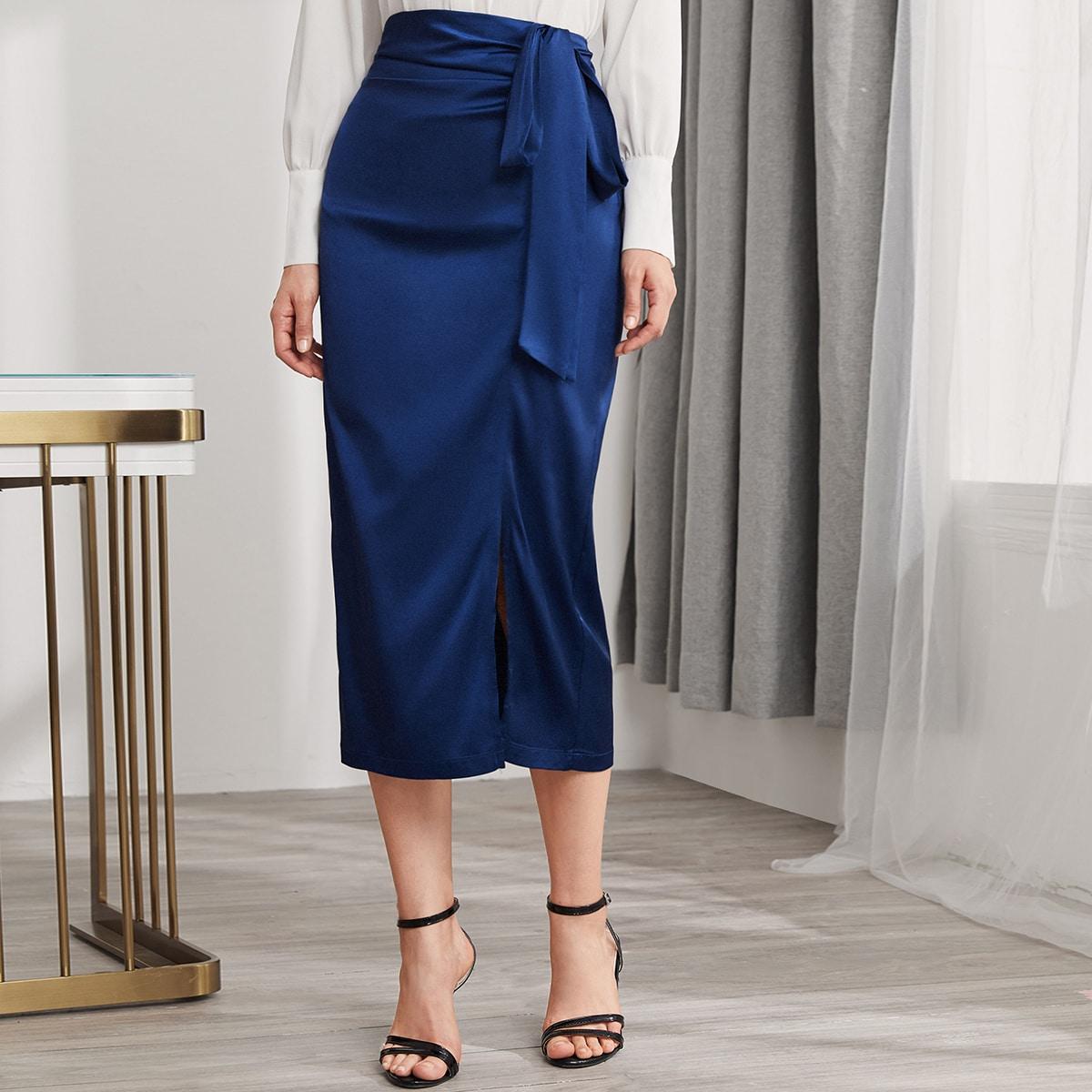 SHEIN / Tie Side Split Hem Satin Skirt