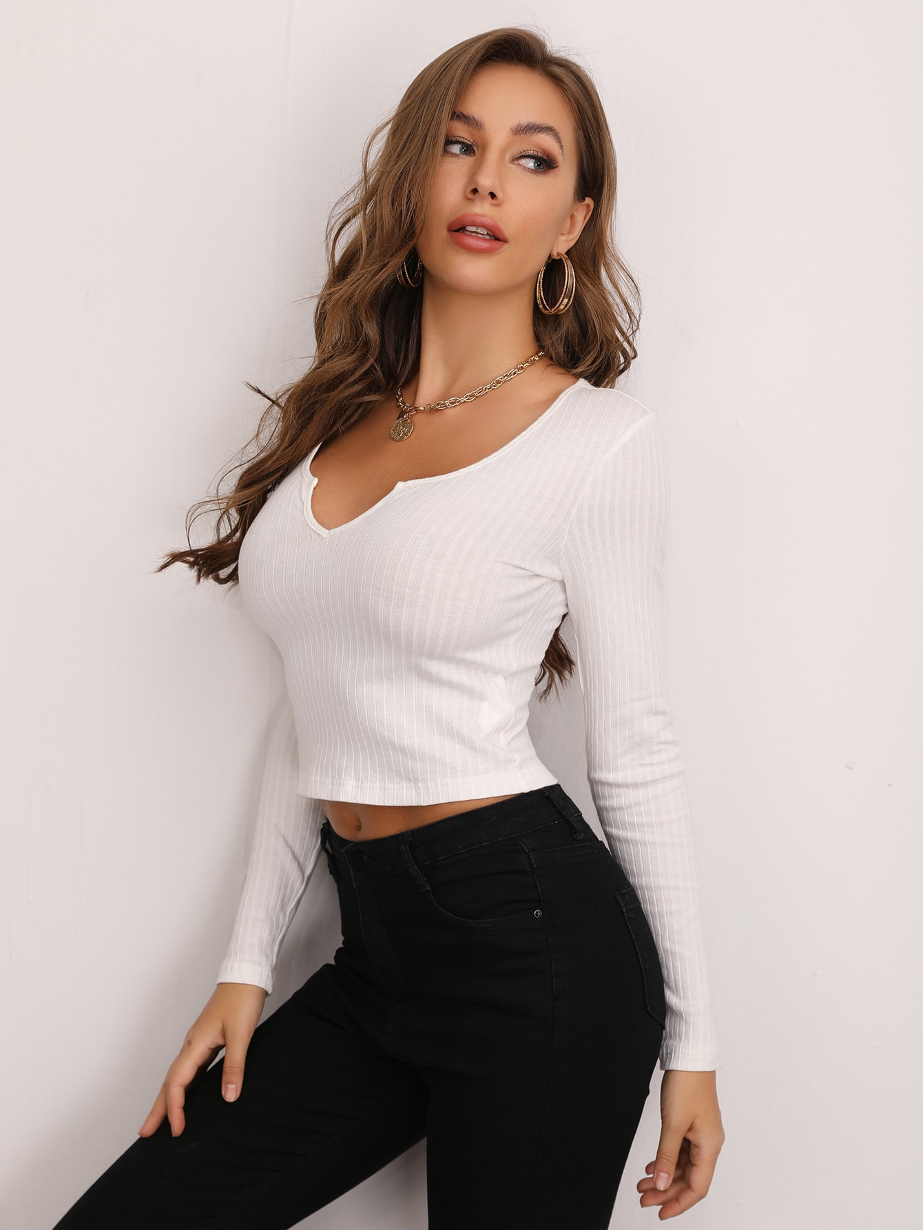 Notched Neck Fitted Top thumbnail