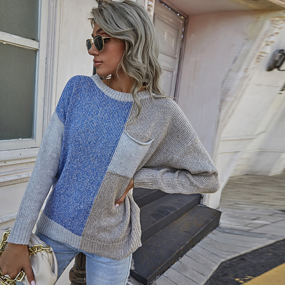 Patch Pocket Drop Shoulder Colorblock Sweater