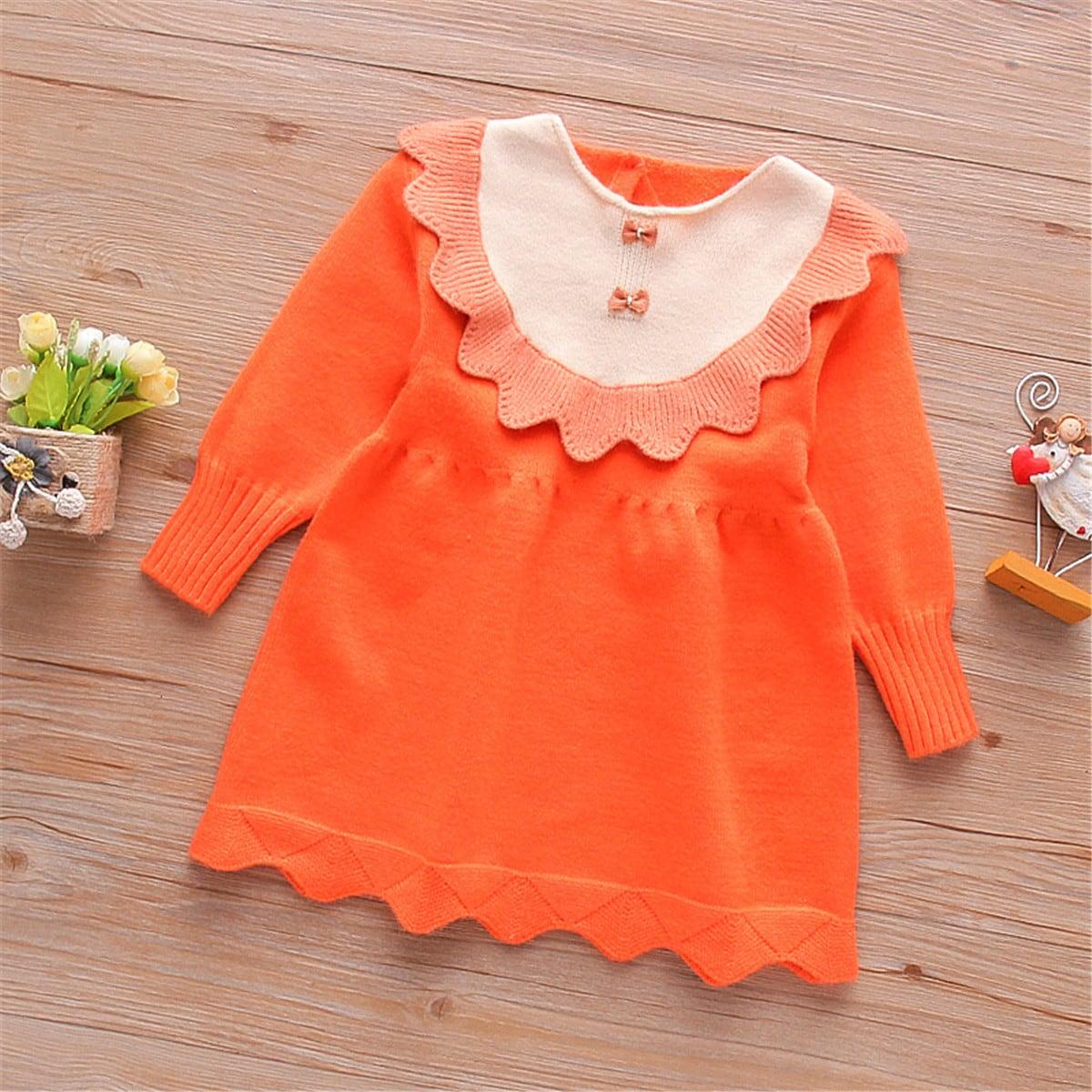 Контрастное платье-свитер с фестончатой отделкой для девочек