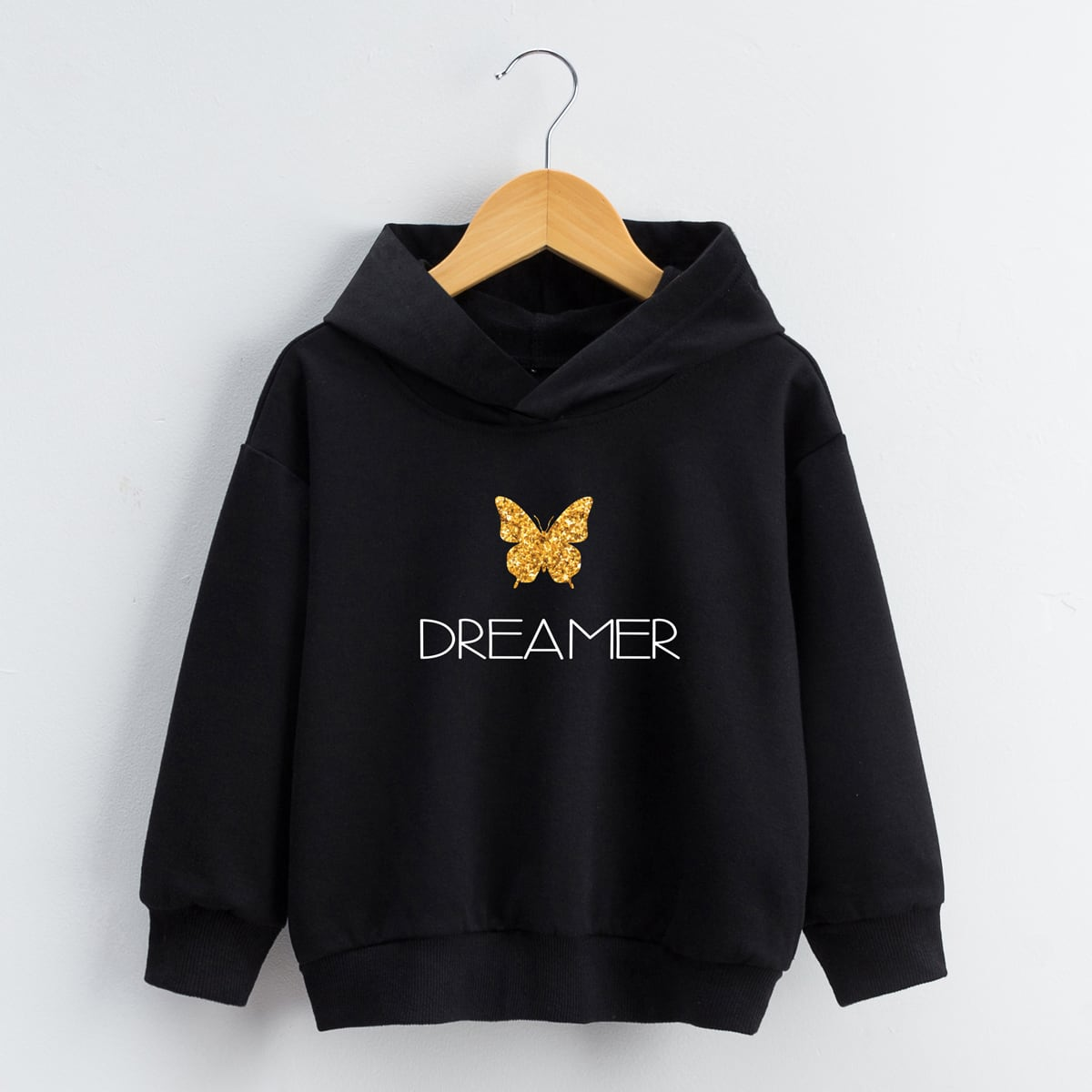 Girls Butterfly & Letter Graphic Hoodie