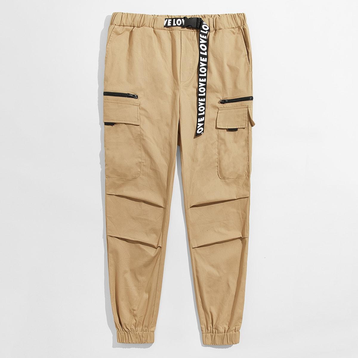 Мужские брюки-карго с карманом и текстовой лентой