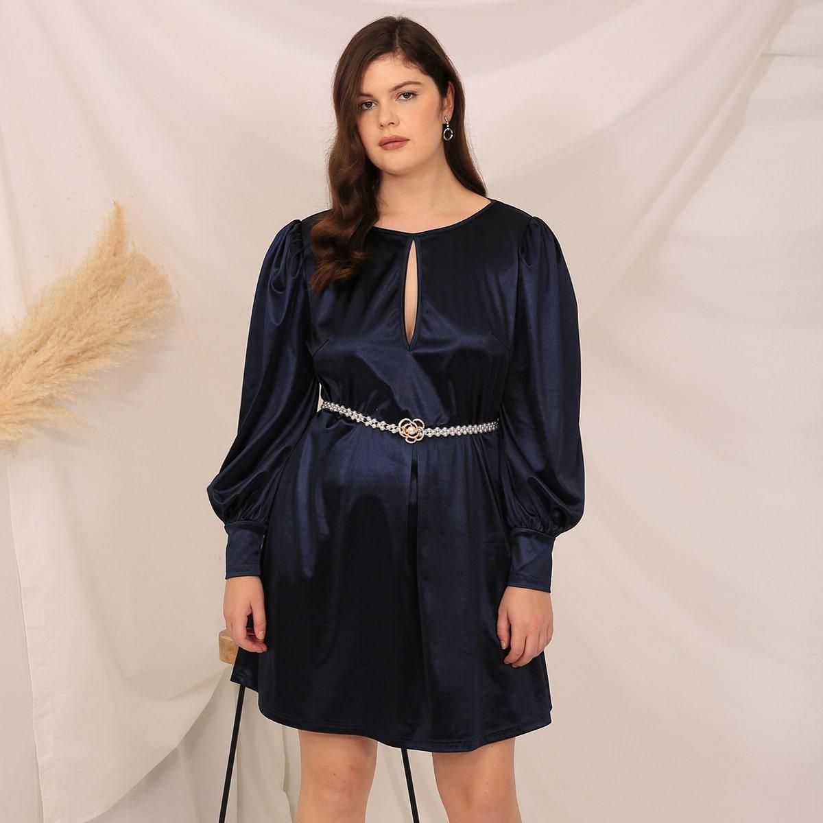 Атласное платье размера плюс без пояса