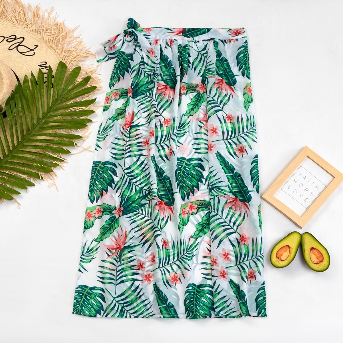 Юбка-накидка с тропическим принтом