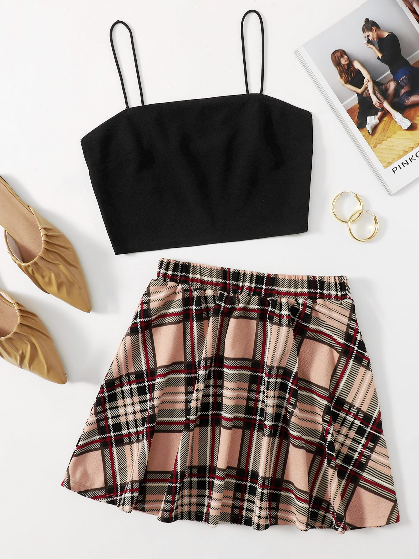 Crop Cami Top & Tartan Flared Hem Skirt Set thumbnail