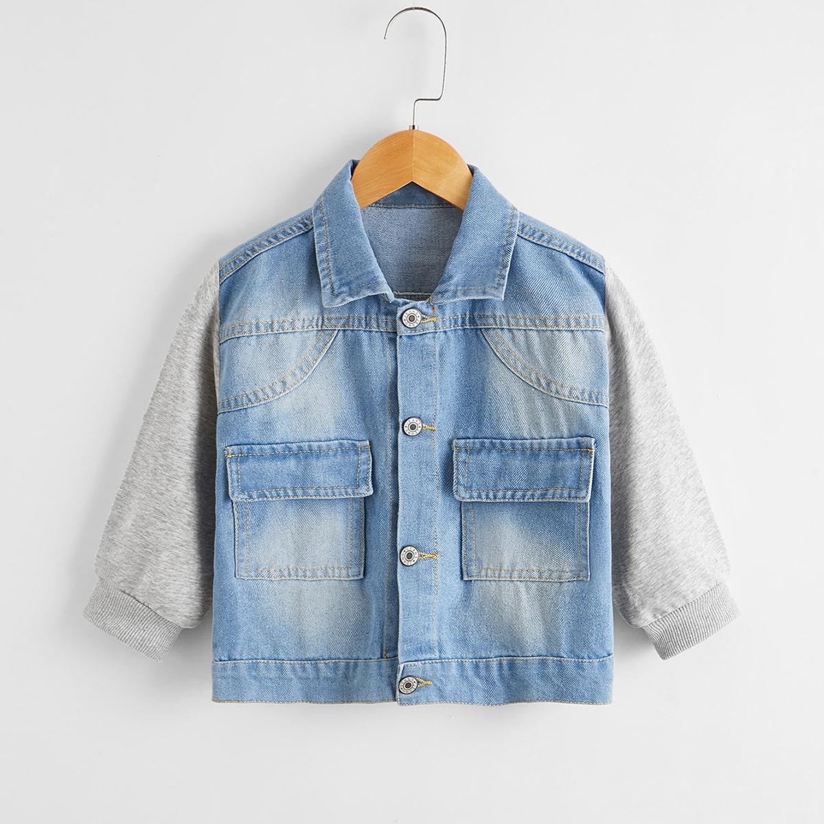 Контрастная джинсовая куртка с карманом для мальчиков