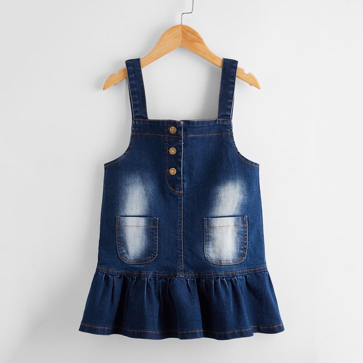Джинсовое платье с оборкой для девочек
