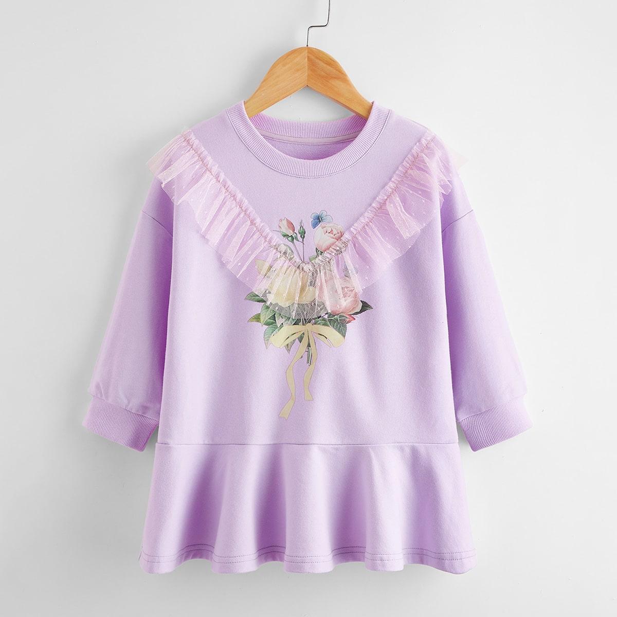 Платье-свитшот с цветочным принтом  для девочек