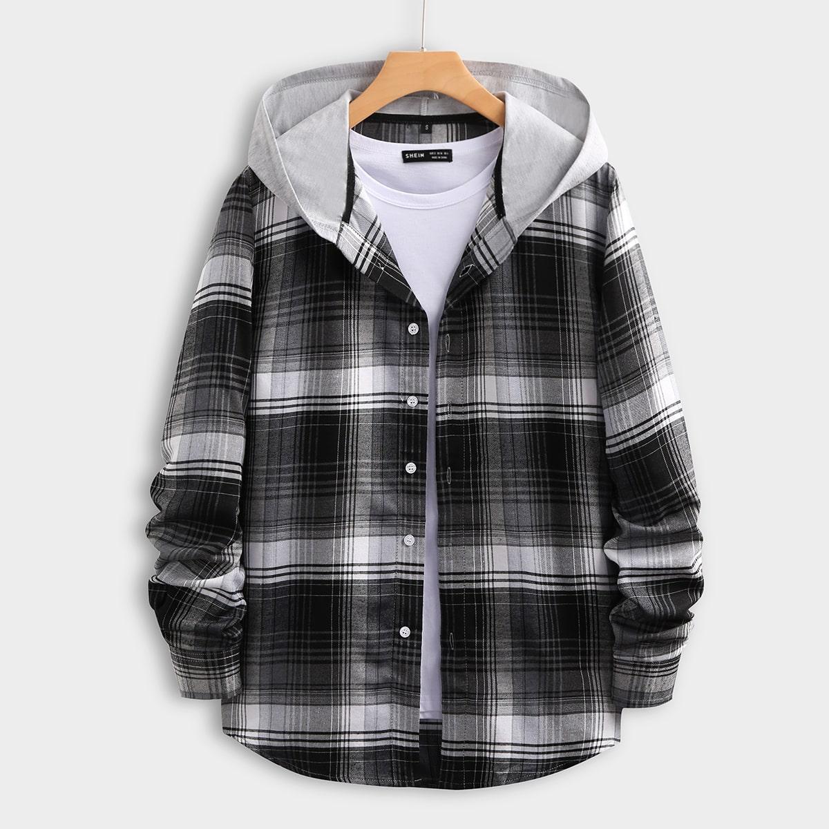Пуговица Клетчатый Институтский Мужские рубашки SheIn smshirt03201123970
