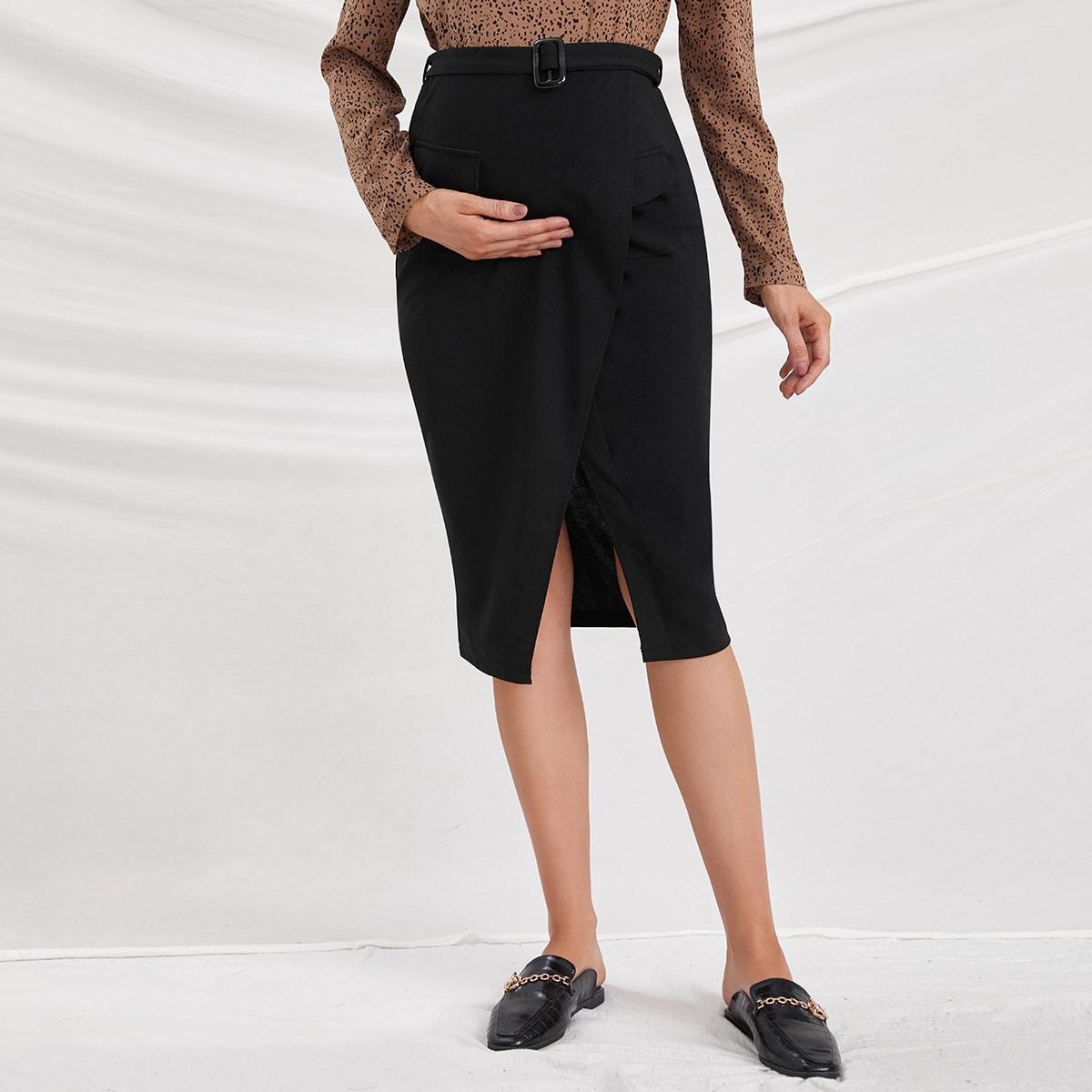 Юбка для беременных с карманом и поясом