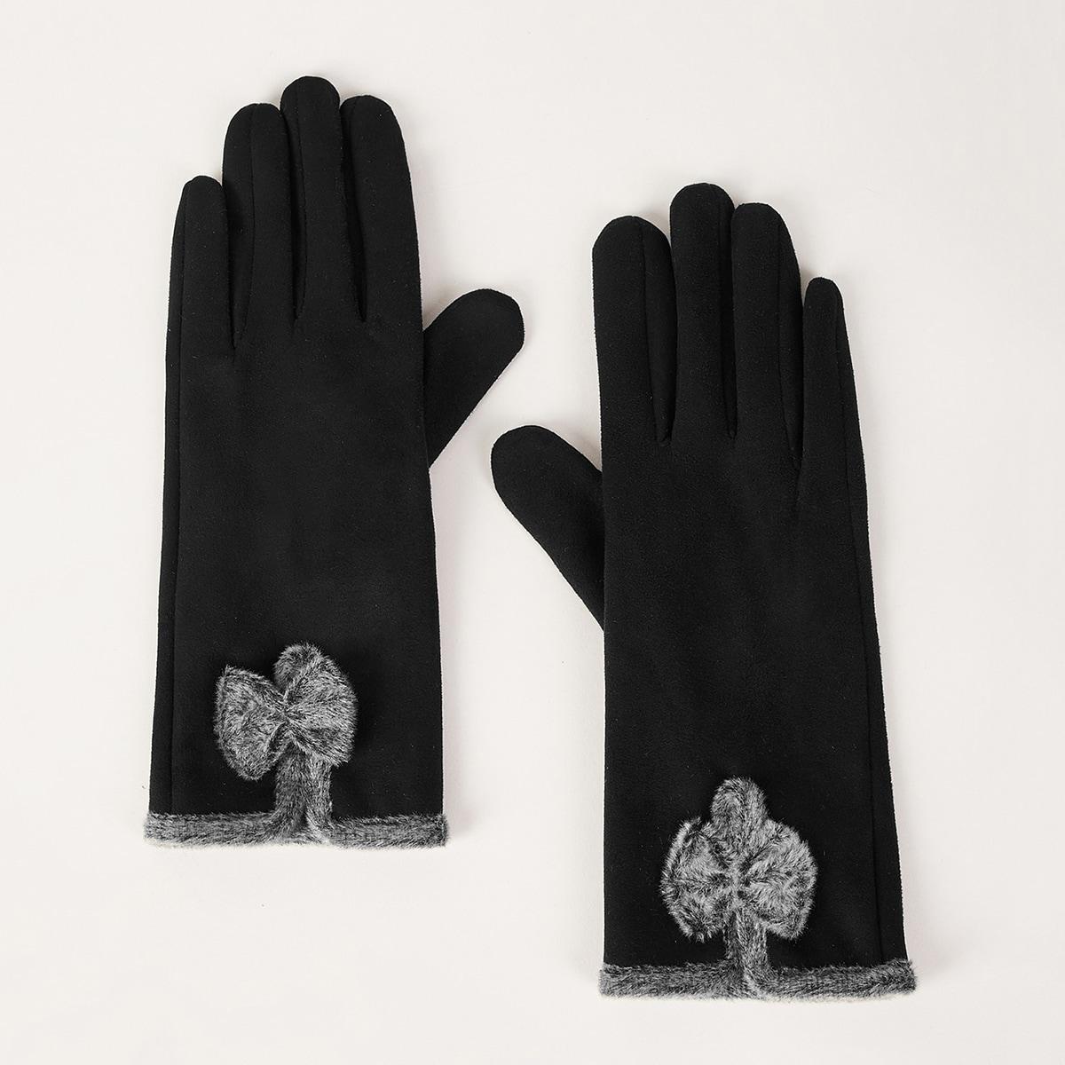 Плюшевые теплые перчатки