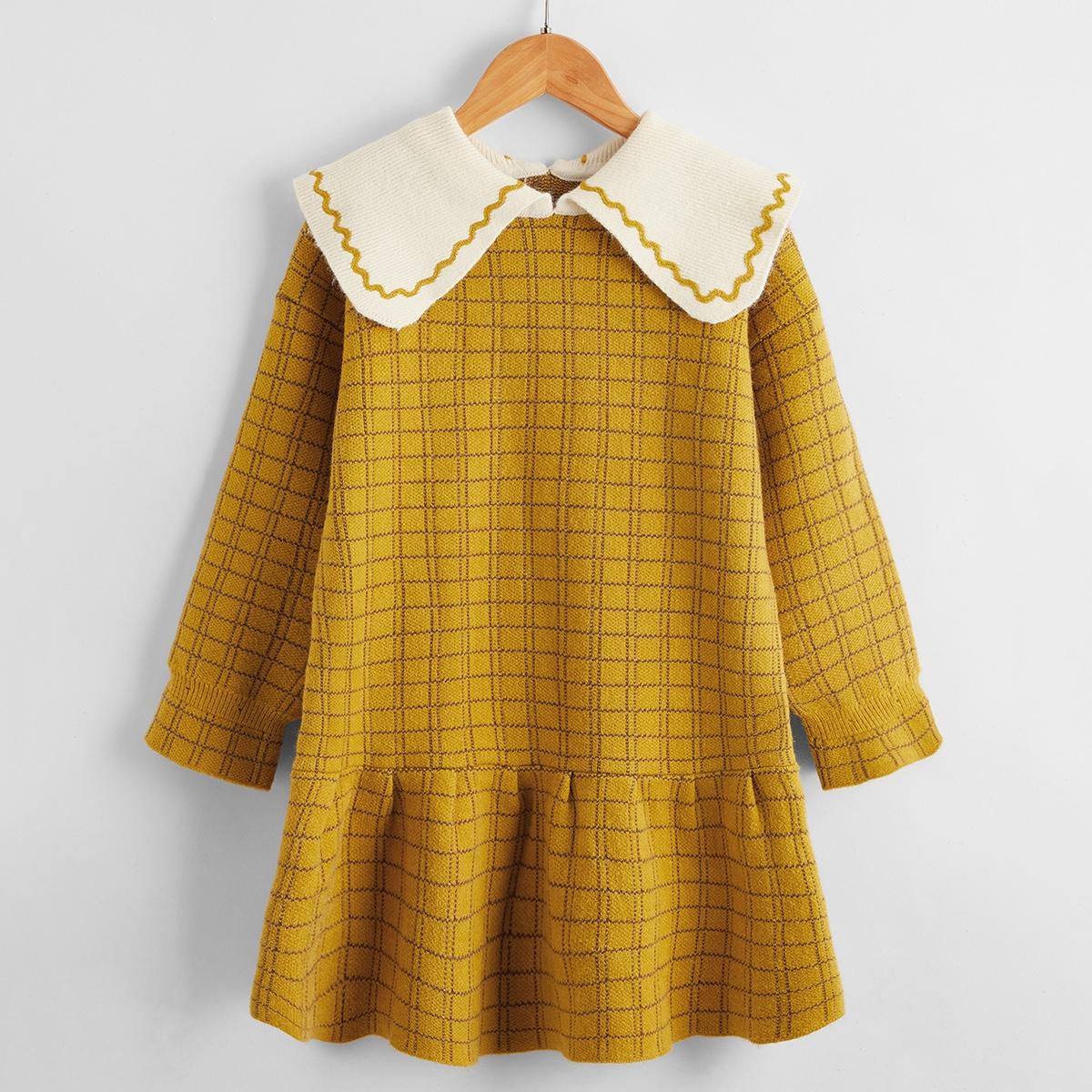 Платье-свитер в клетку для девочек