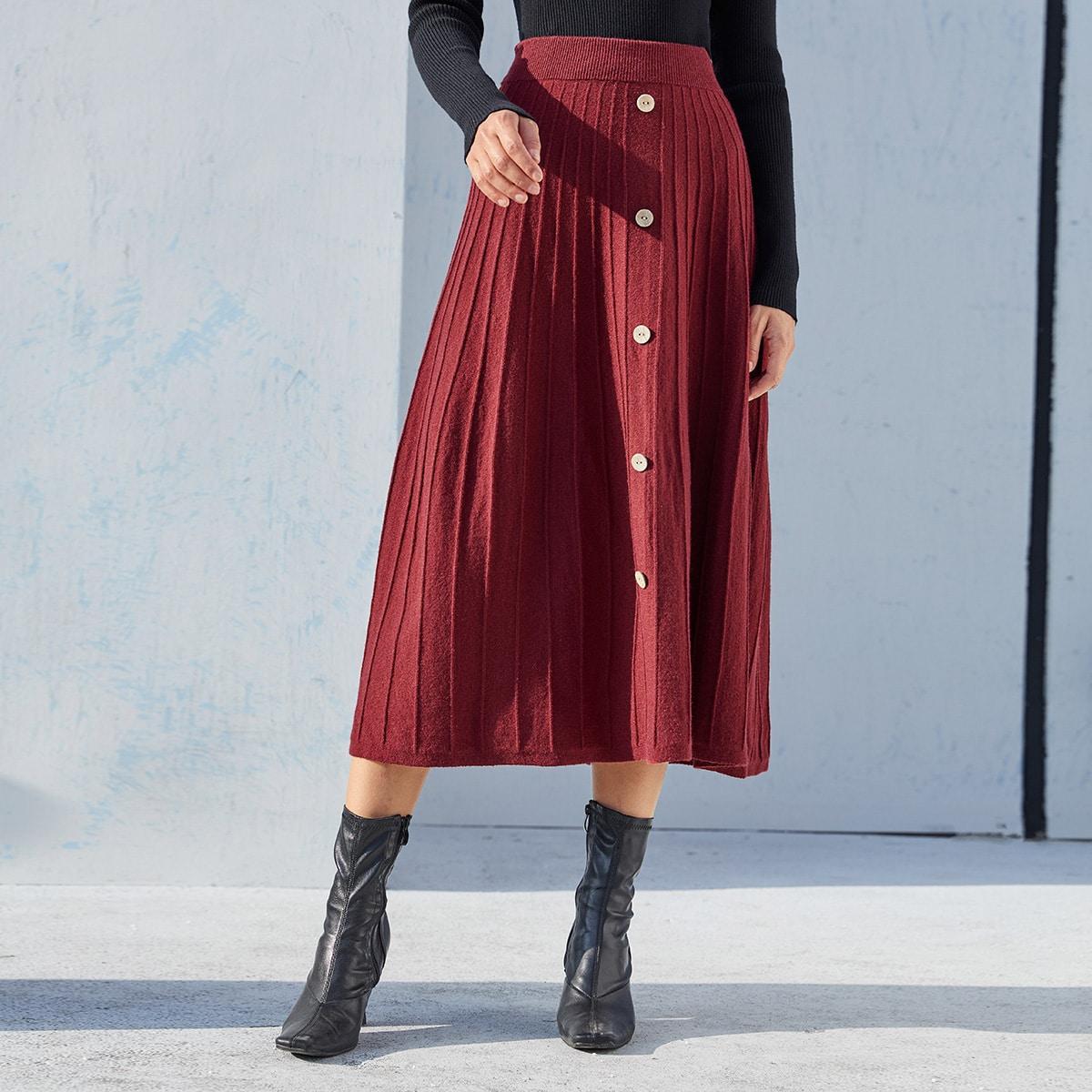 Расклешенная юбка с пуговицами
