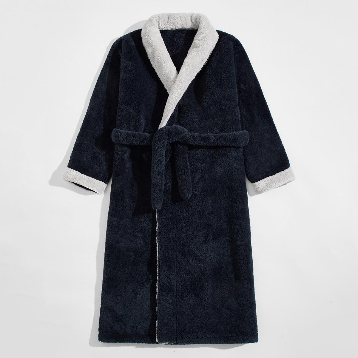С поясом контрастный цвет повседневный мужская домашняя одежда