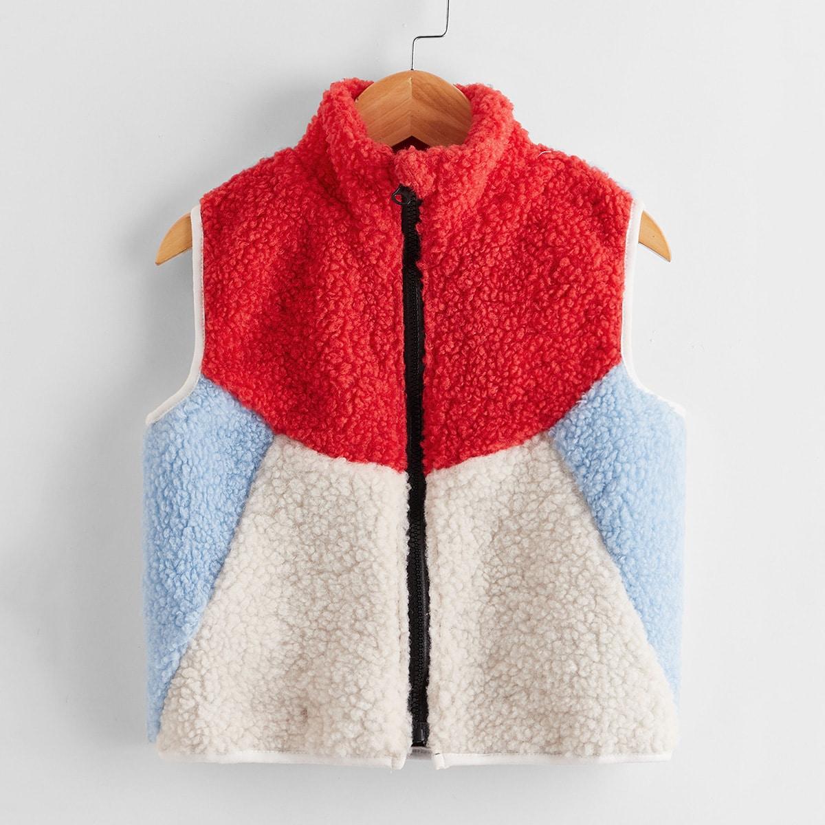 Контрастная куртка тедди для мальчиков