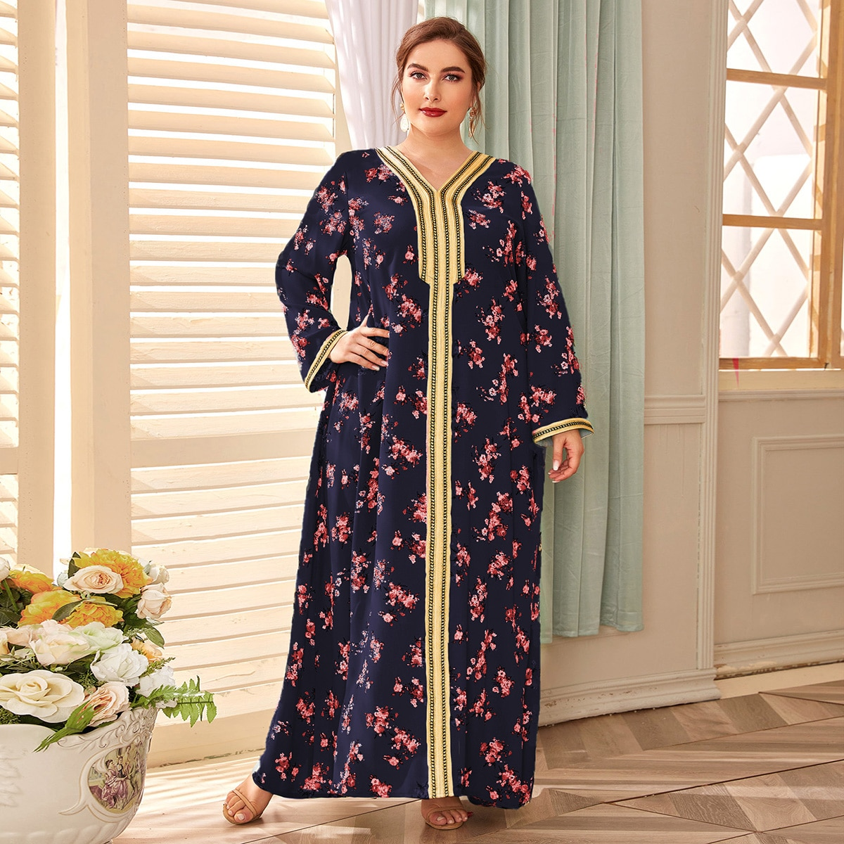 Платье размера плюс с цветочным принтом