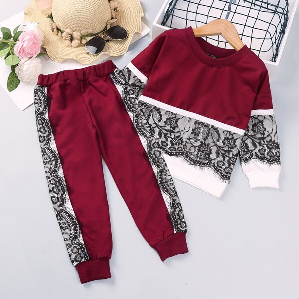 Toddler Girls Two Tone Contrast Lace Sweatshirt With Sweatpants, Multicolor