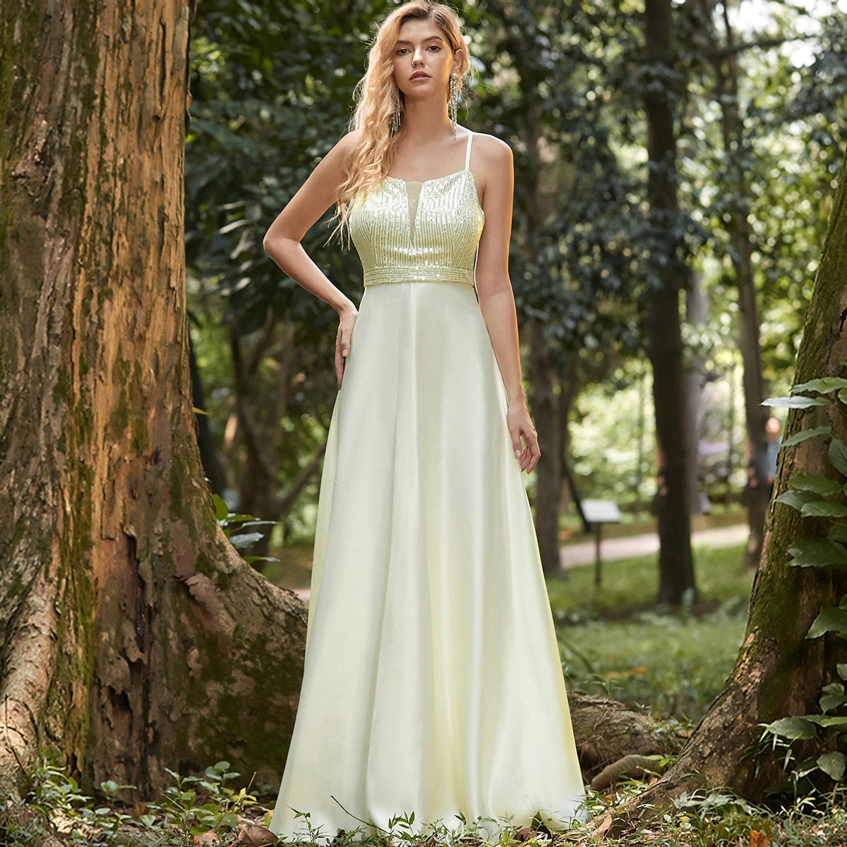 Contrast Sequin Satin Cami Prom Dress