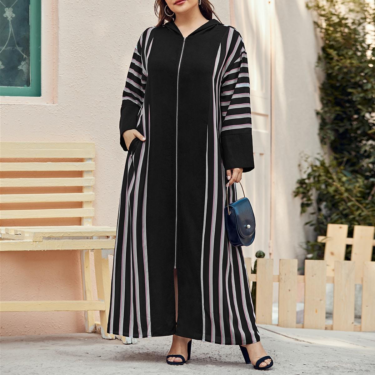 Платье размера плюс с капюшоном на молнии
