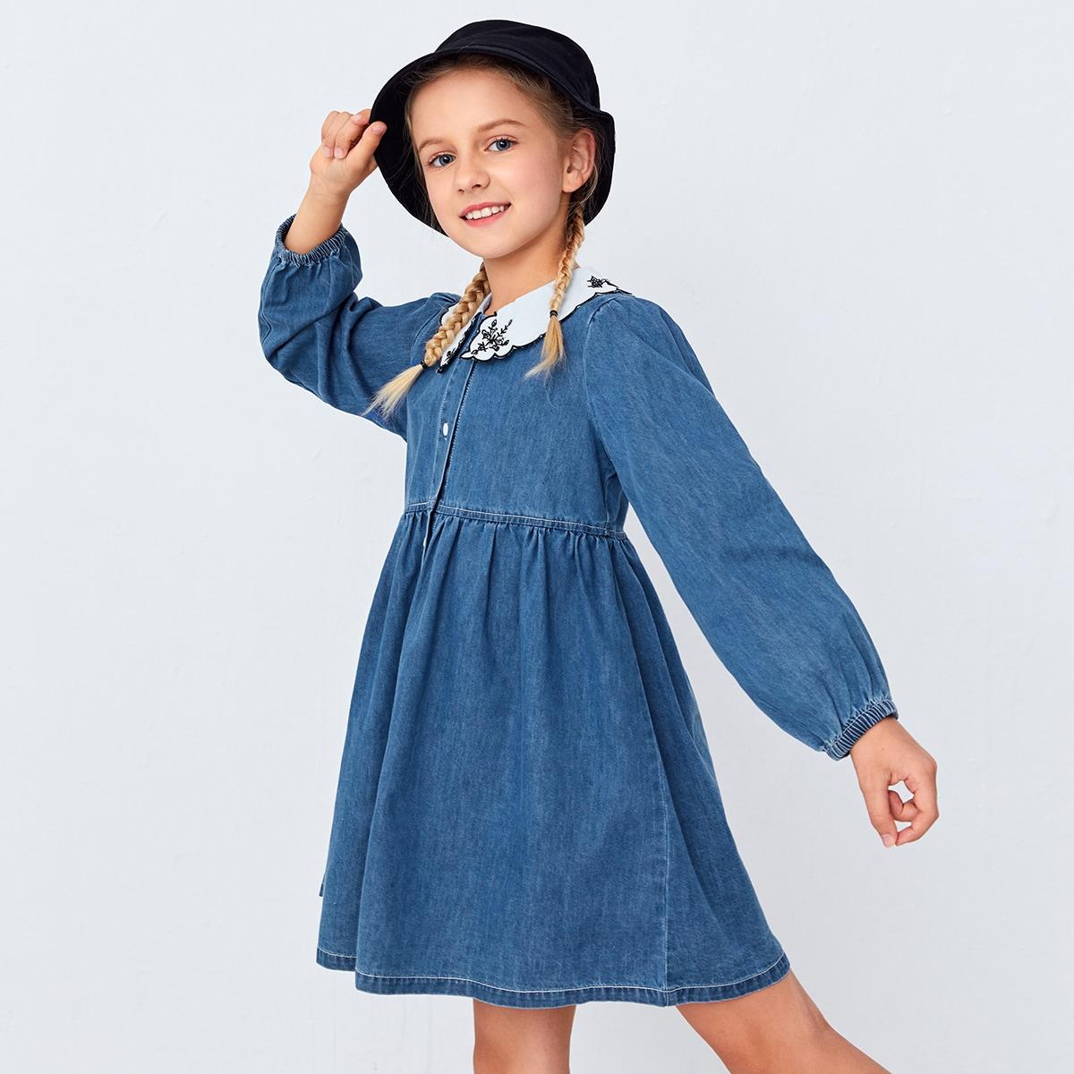 Джинсовое платье с контрастным воротником для девочек