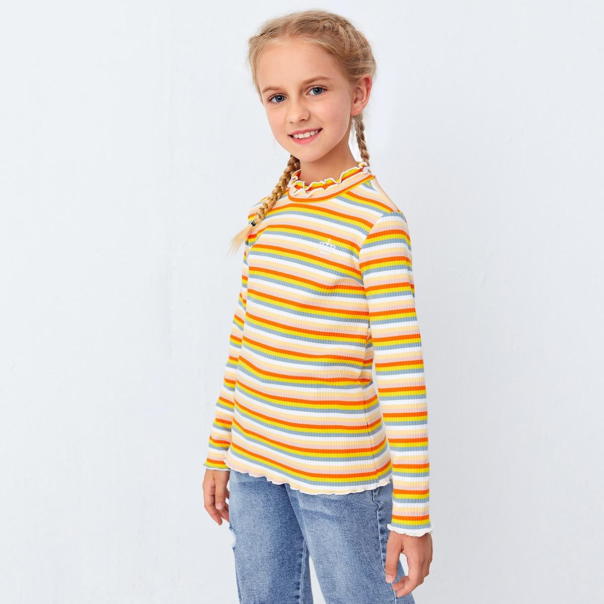 Вышивка радужные полосы милый футболки для девочек