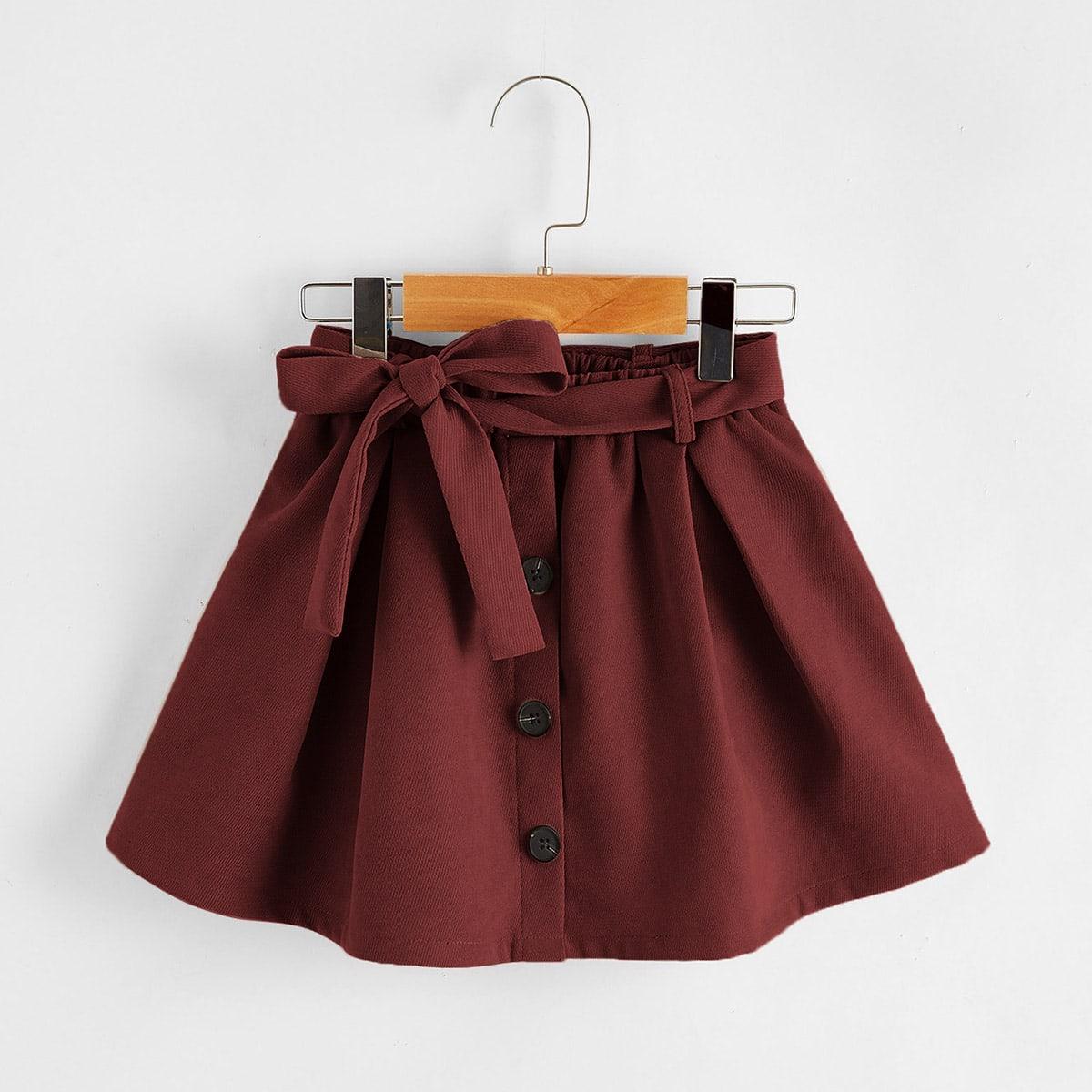 Расклешенная юбка с поясом и пуговицами для девочек