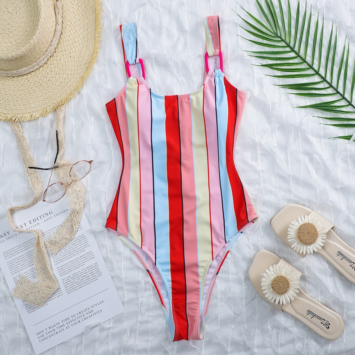 Striped Buckle Linked One Piece Swimsuit