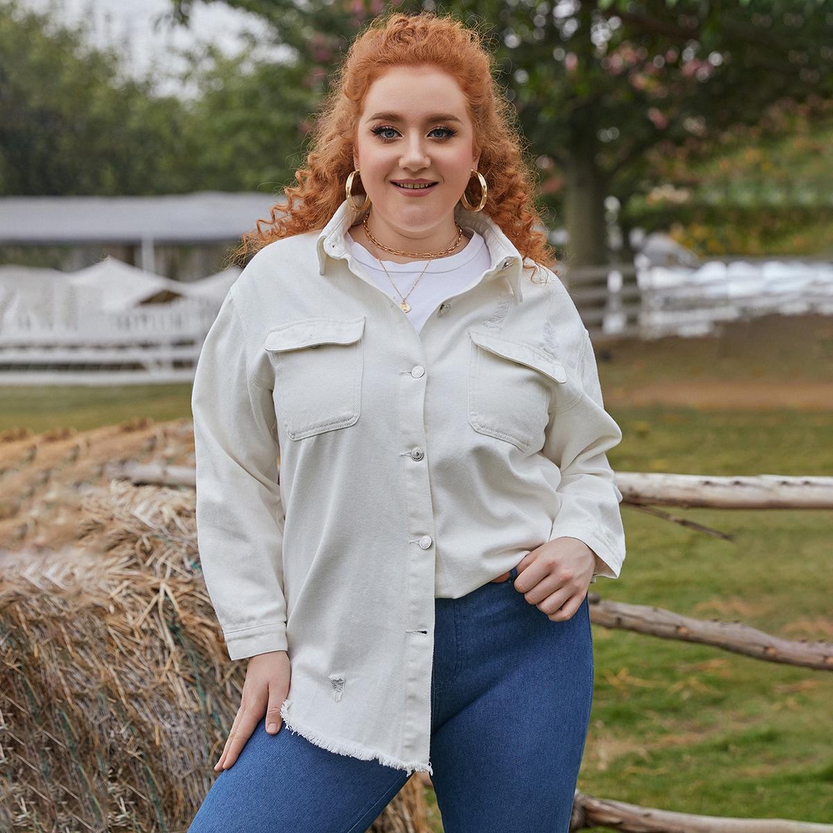 Джинсовая куртка размера плюс с карманом