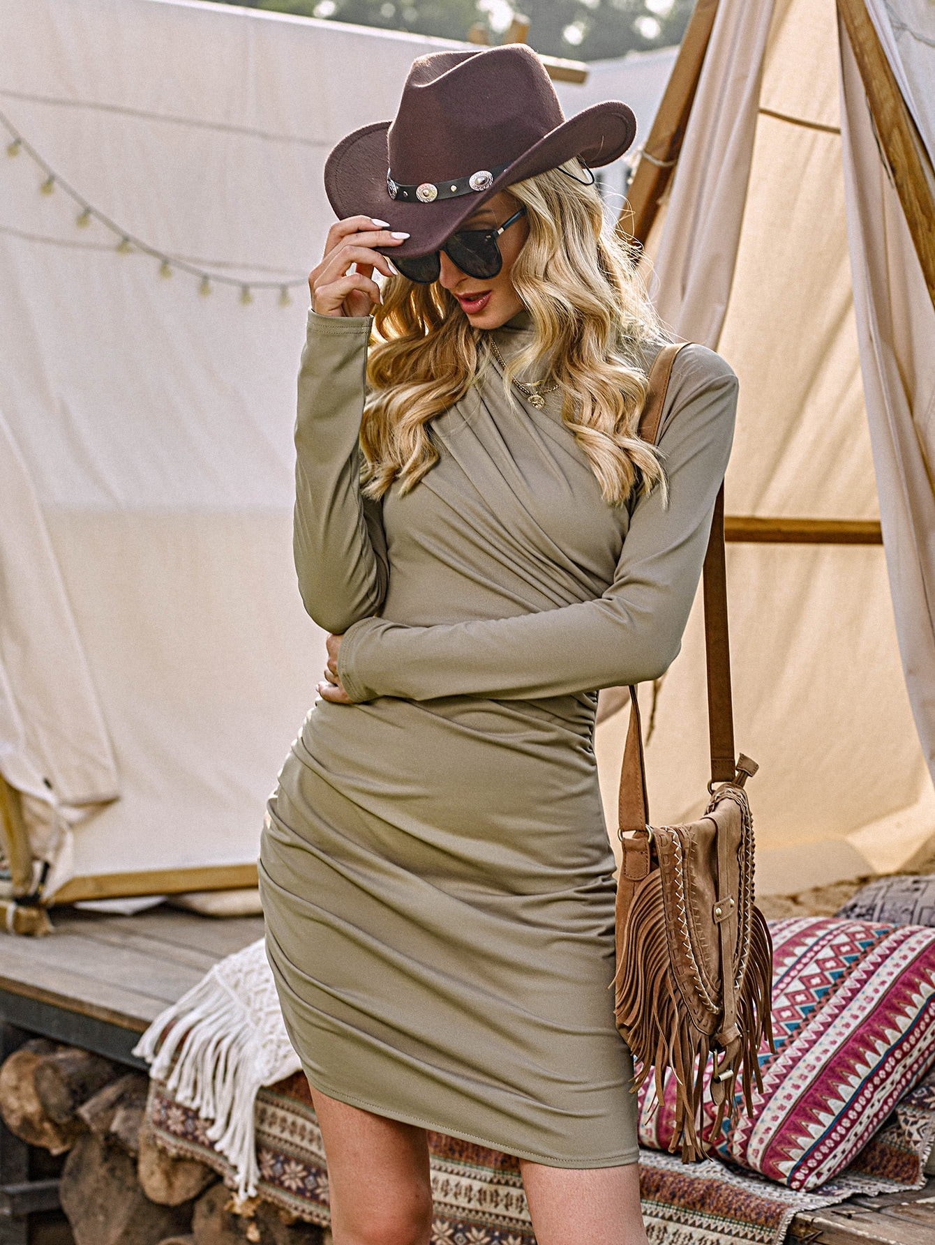 Ruched Front Mock Neck Bodycon Dress thumbnail