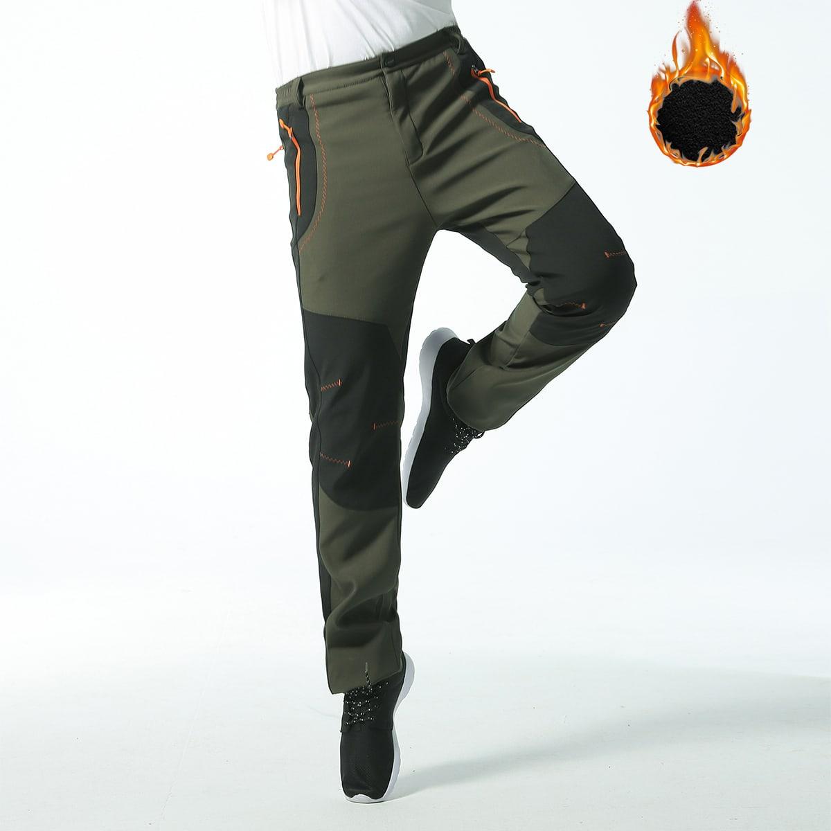 Мужские контрастные прямые брюки на флисовой подкладке