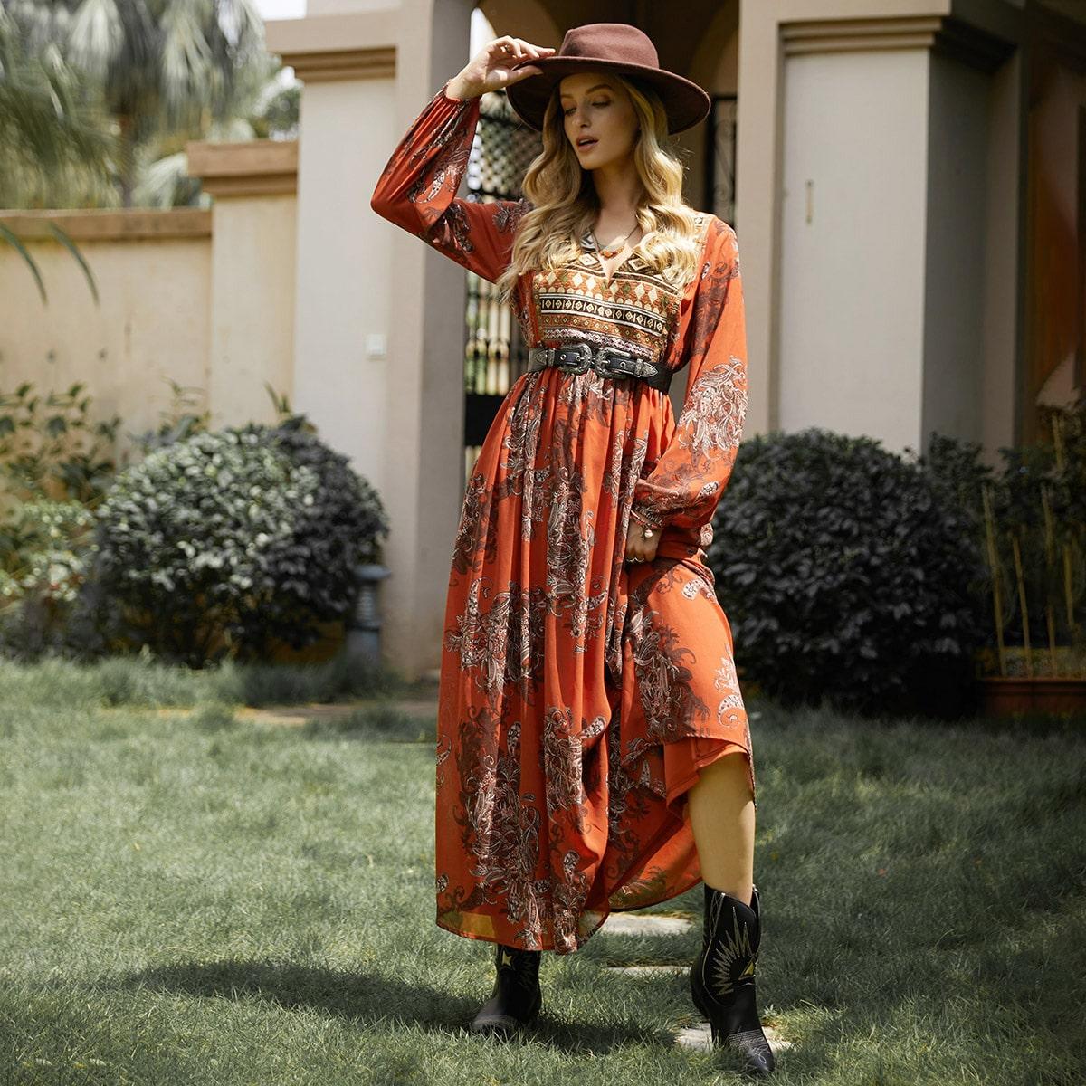 Платье с цветочным и геометрическим принтом без пояса
