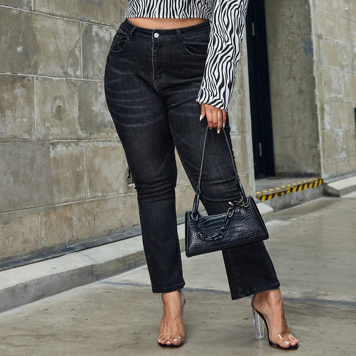 Plus High-Waisted Flare Leg Jeans