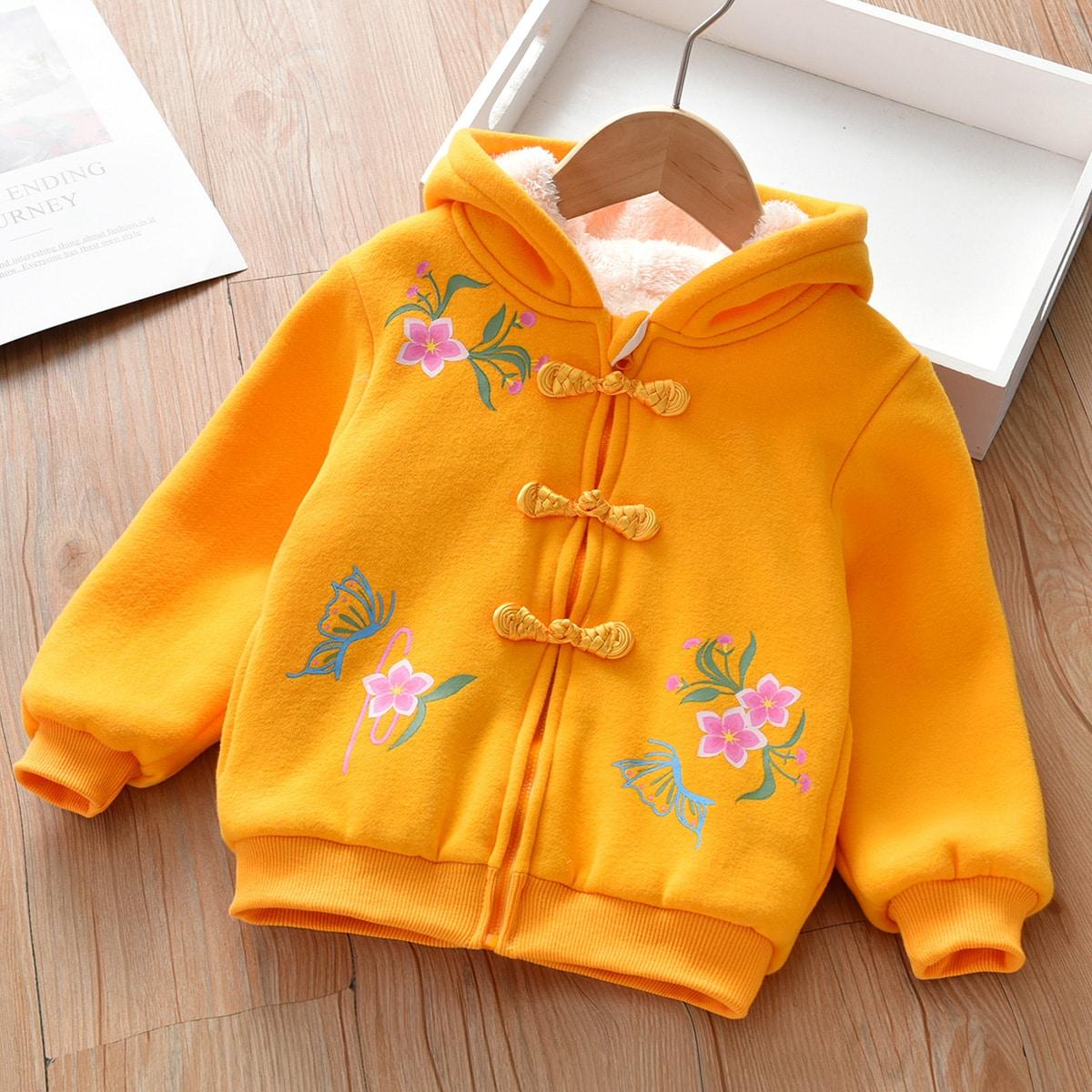 Куртка на плюшевой подкладке с цветочным узором для девочек