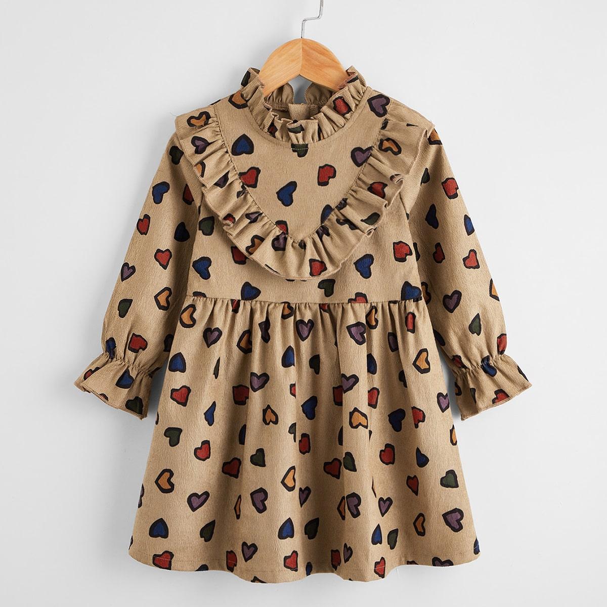 Вельветовое платье с принтом сердечка для девочек