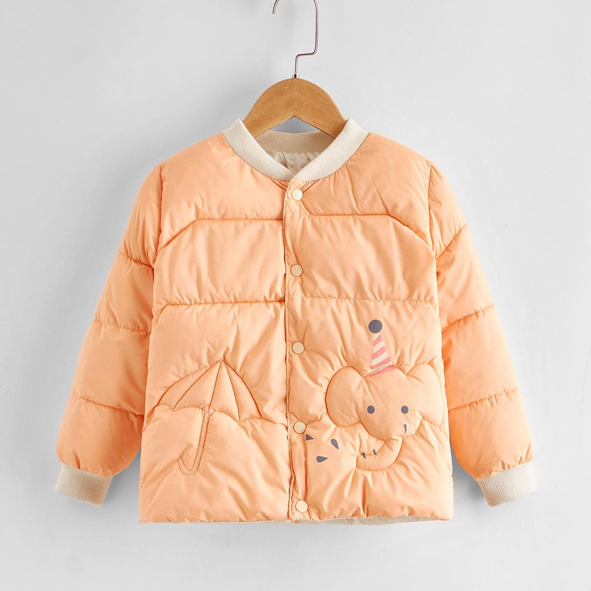 Ватное пальто с мультипликационным принтом для девочек