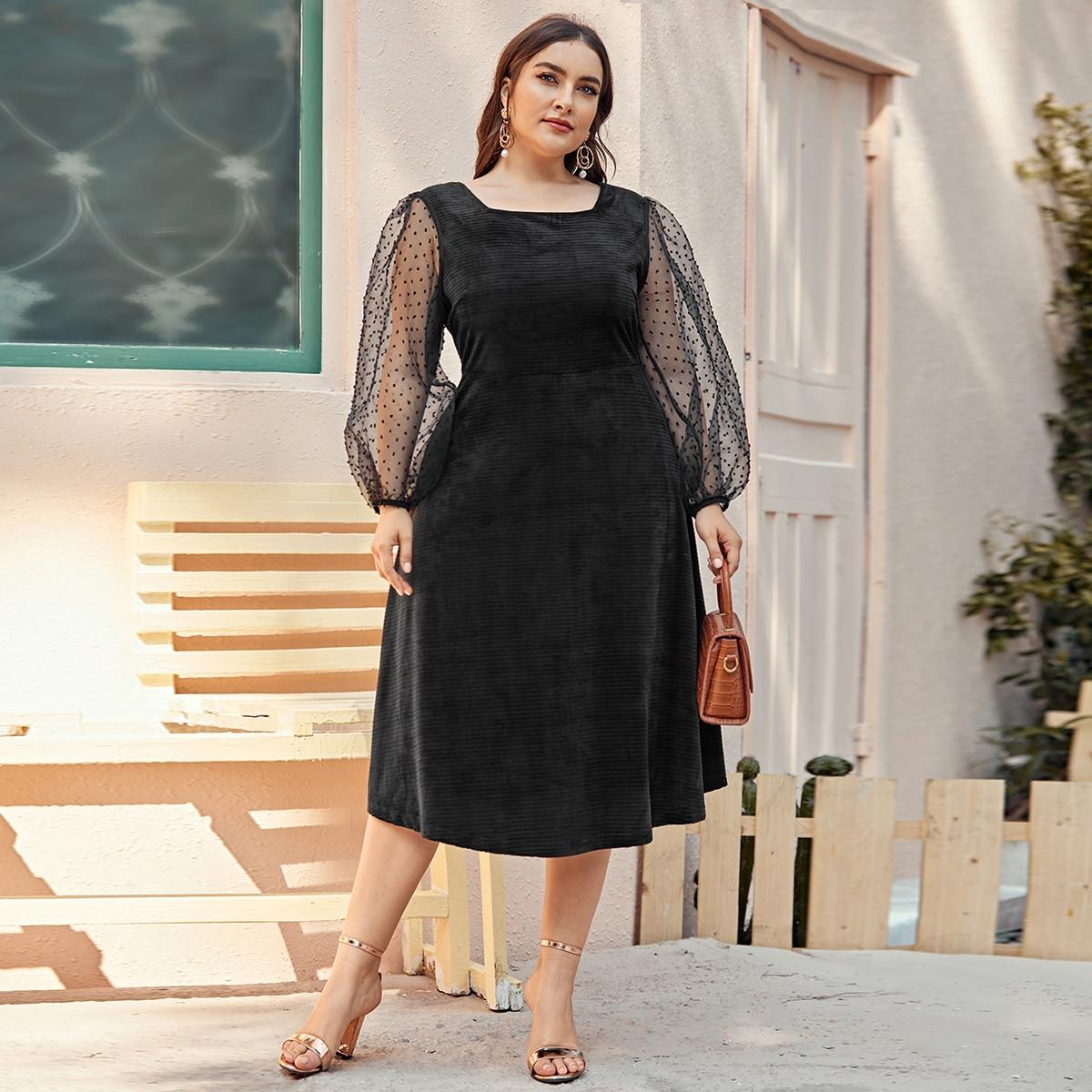 Бархатное платье размера плюс в рубчик с сетчатым рукавом и квадратным воротником