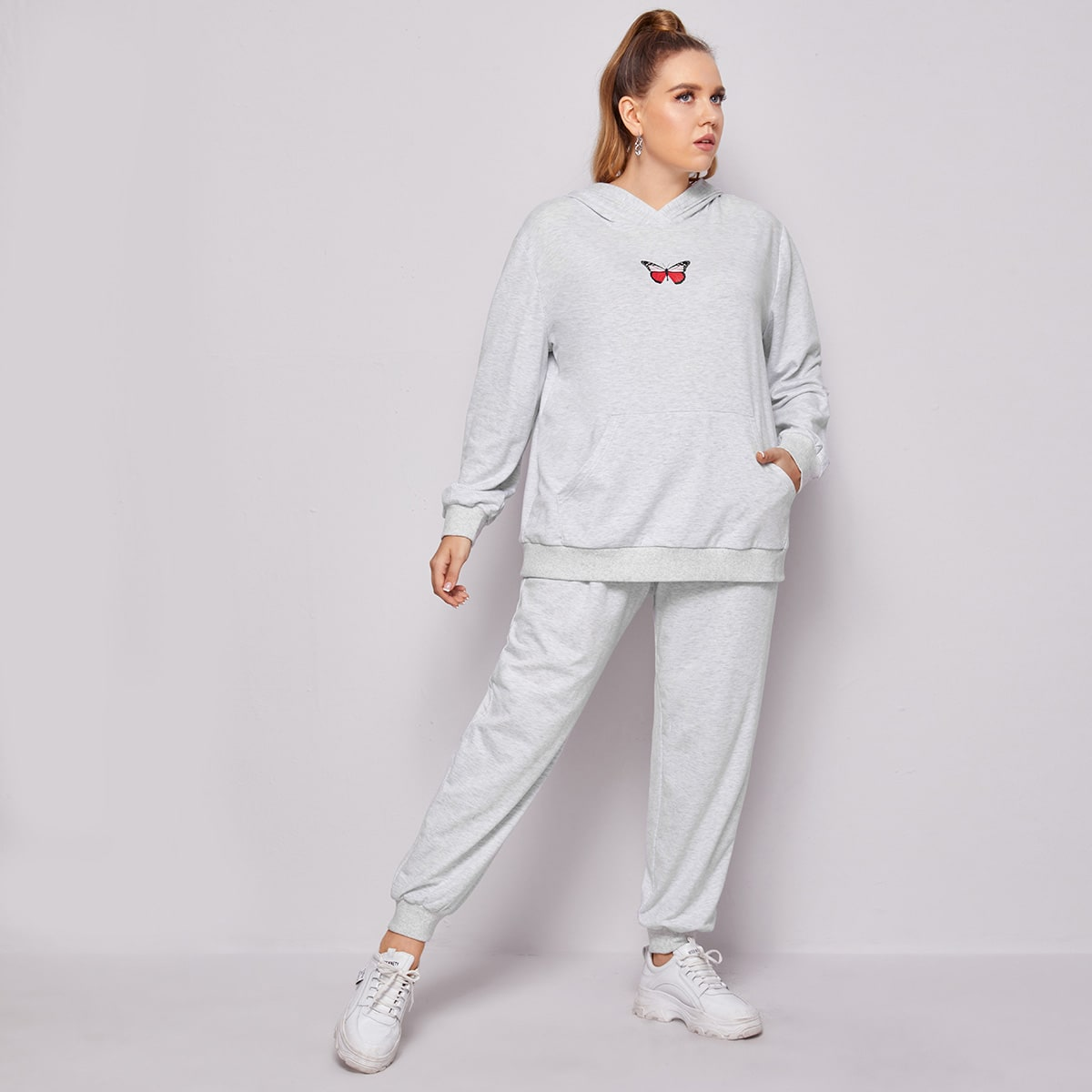 Plus Butterfly Print Pouch Pocket Hoodie & Sweatpants Set, SHEIN  - buy with discount