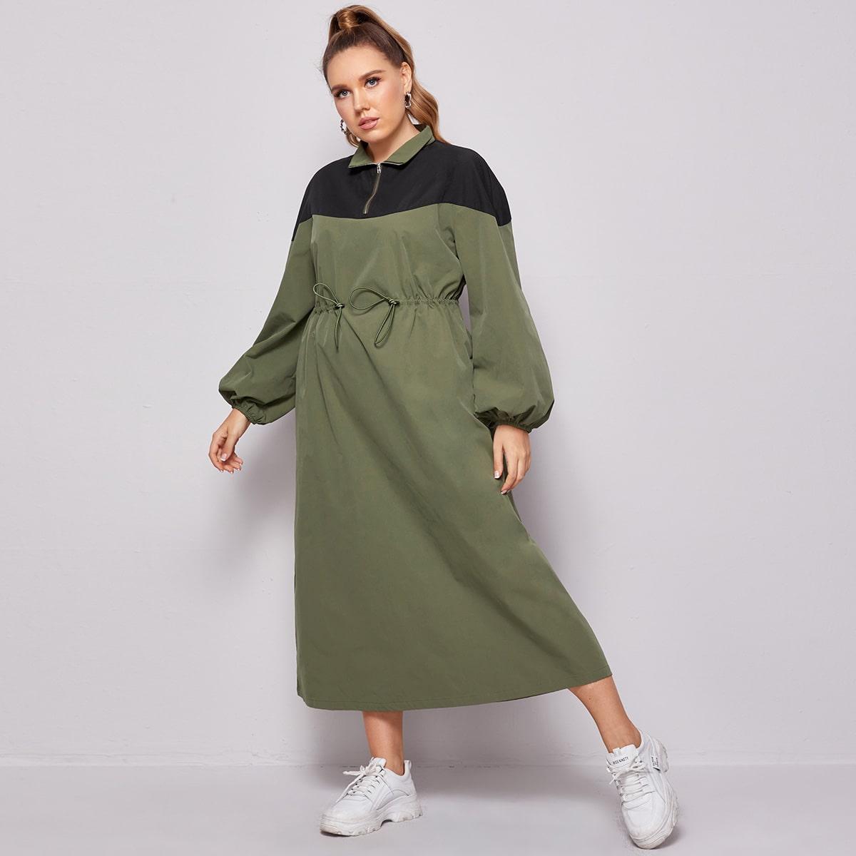 Двухцветное платье размера плюс на кулиске с молнией