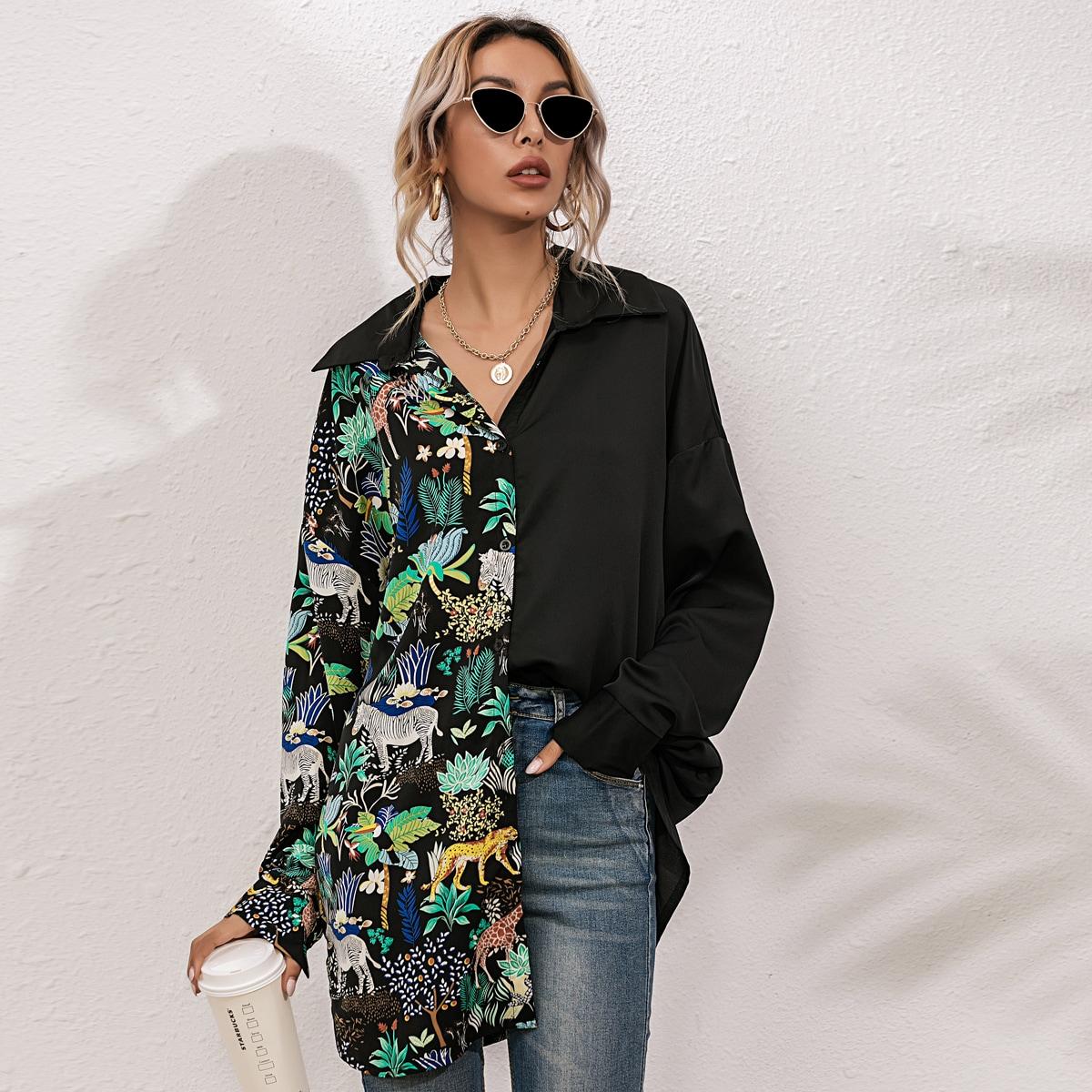 Контрастная длинная блузка с принтом