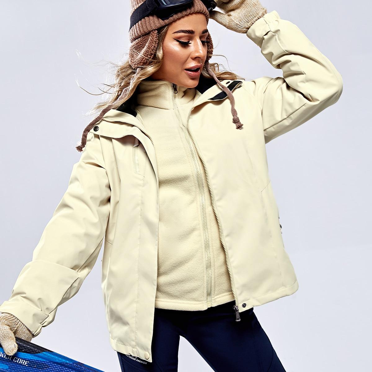 Водонепроницаемая куртка с капюшоном и съемной флисовой подкладкой