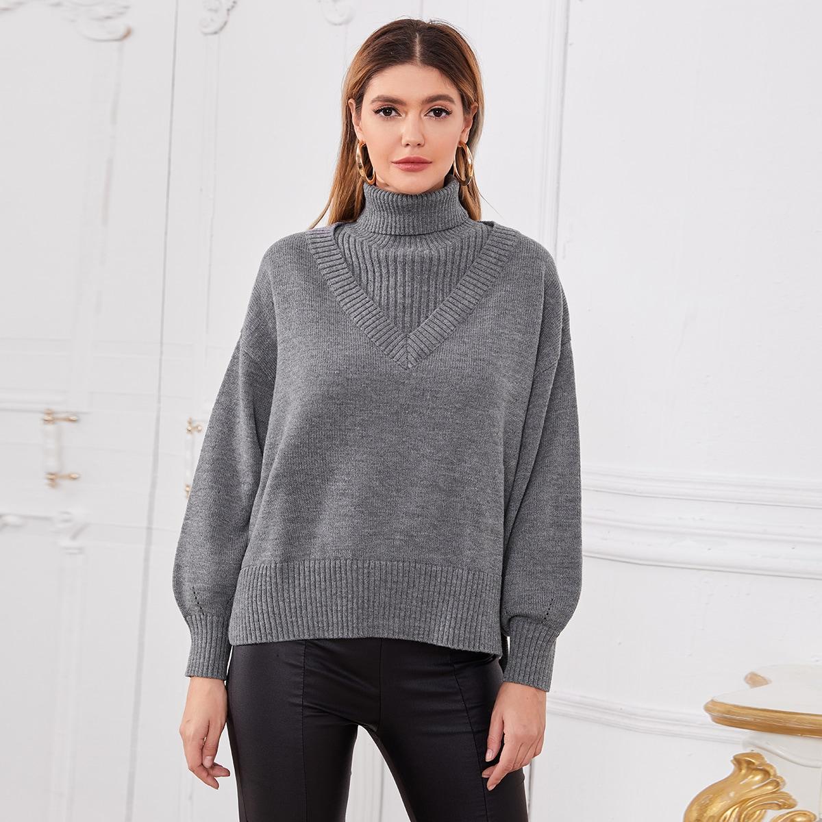 High Neck Lantern Sleeve Sweater