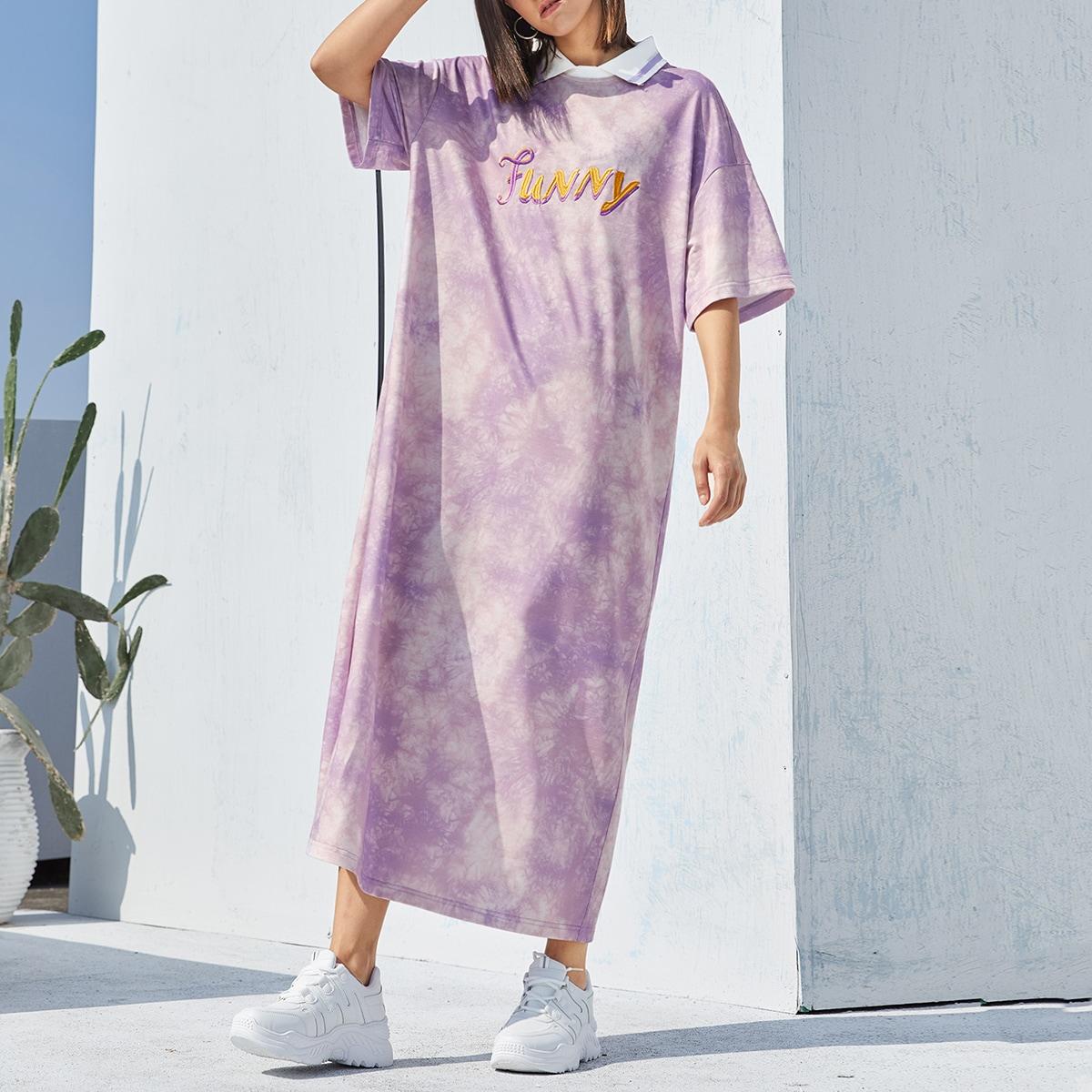 Платье с принтом тай дай и текстовой вышивкой