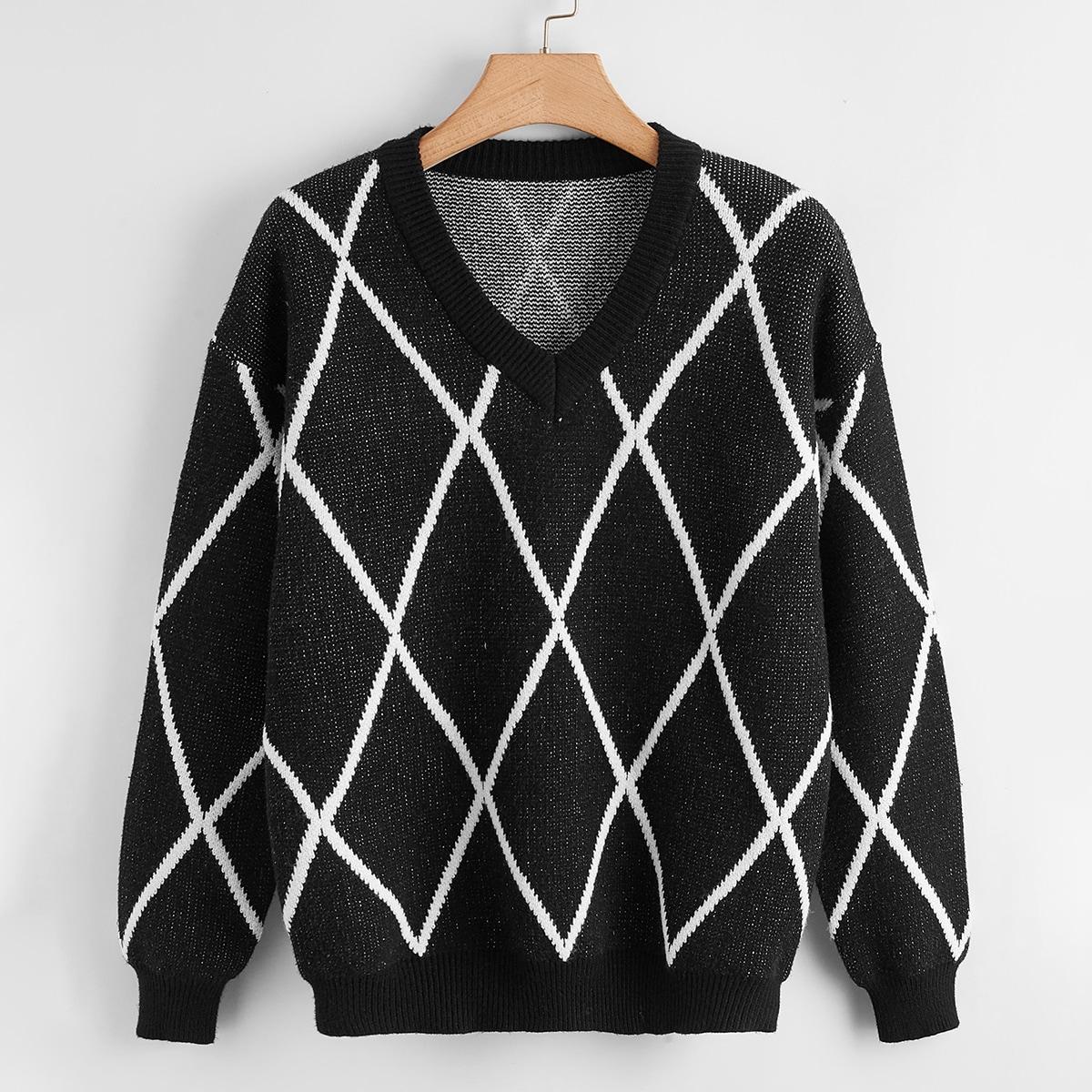 Plus V-neck Drop Shoulder Argyle Pattern Sweater