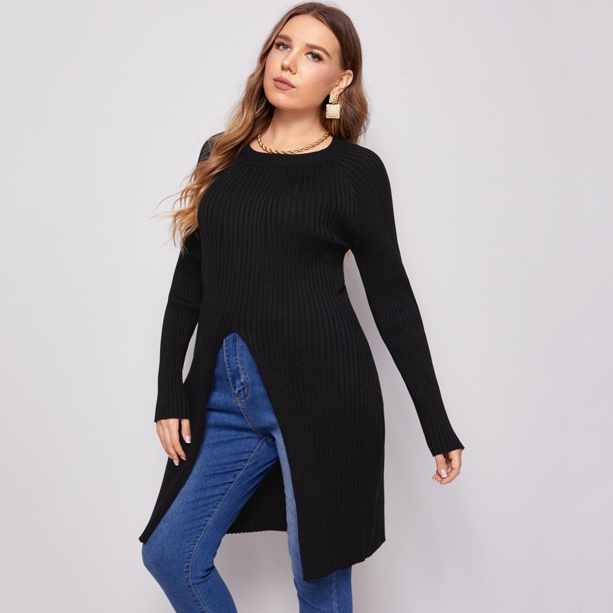 Однотонный свитер размера плюс с рукавом реглан