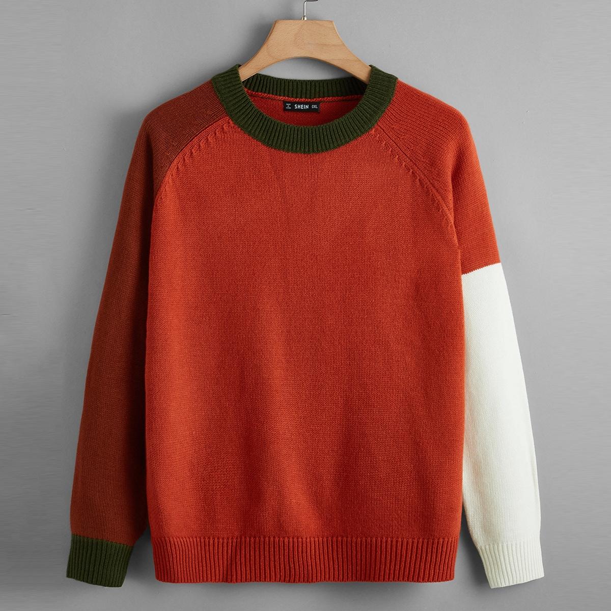 Контрастный свитер размера плюс с рукавом реглан
