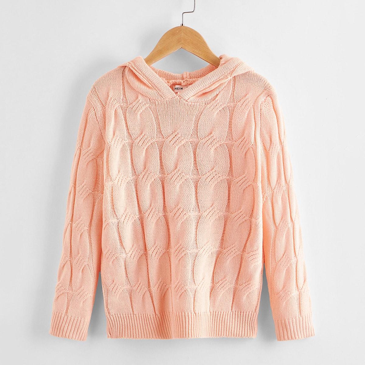 Вязаный свитер с капюшоном для девочек