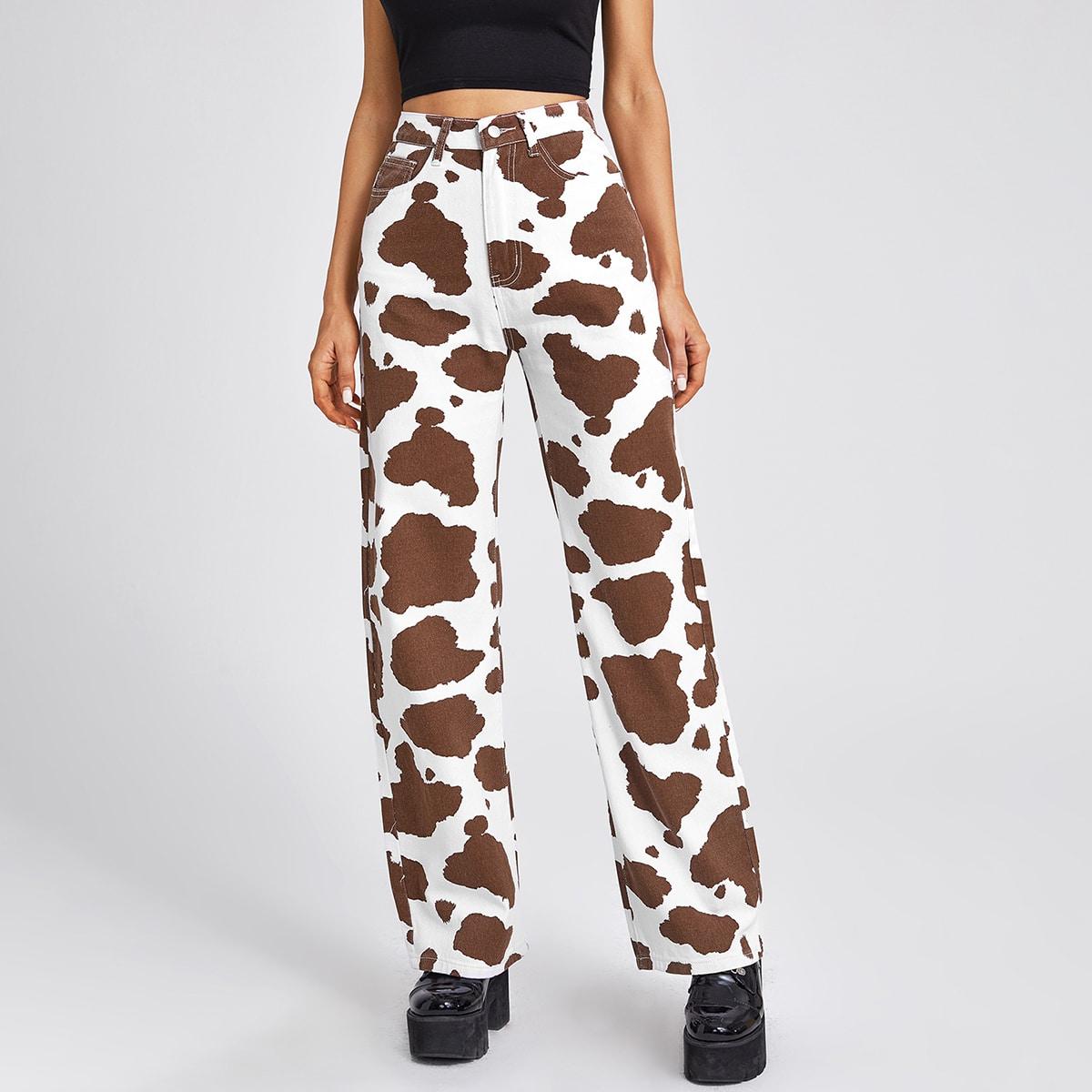 Широкие джинсы с коровьим принтом