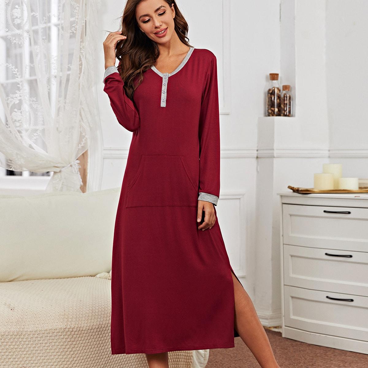 С карманами повседневный домашнее платье